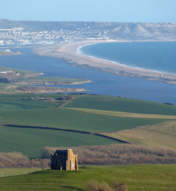 The view from above Abbotsbury looking towards Portland