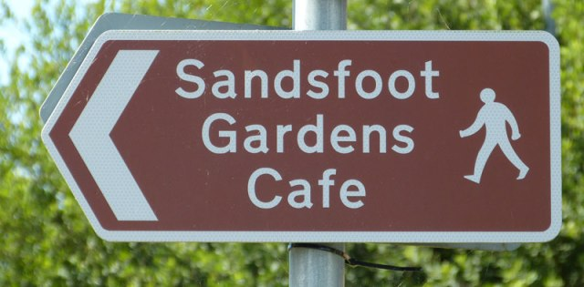 Sandsfoot Gardens Cafe is signed from the Trail