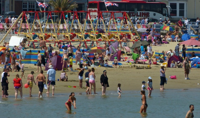 A typical summer's day on Weymouth beach