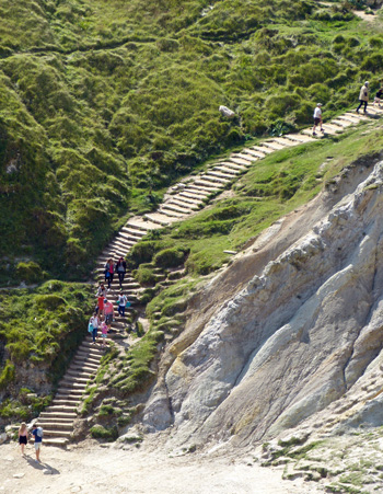 There are lots of steps at Durdle Door
